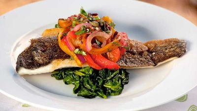 "Recipe:&nbsp;<a href=""http://kitchen.nine.com.au/2017/01/20/14/39/lyndy-milans-murray-cod-with-peperonata-and-wilted-spinach"" target=""_top"" draggable=""false"">Lyndy Milan's Murray cod with pepperonata and wilted spinach</a>"