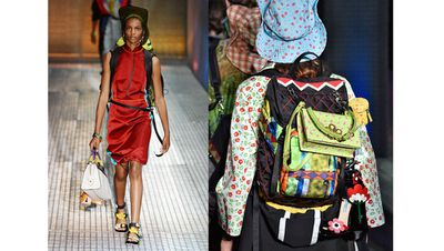 <p>There's backpacking and then there's <em>Prada</em> backpacking.</p> <p> It seems nothing is more equipped to trek stylish territory than Prada's parade of utility baggage spotted at the Spring Summer 2017 Men's presentation in Milan this week. <br /> <br /> With places to hang all your essentials – heels, purse, boxes for trinkets – the backpack makes light work of the daily haul from gym to work to dinner and beyond and is sure to be just as a home on the streets as it is on the summit. Although, we recommend you leave your heels at home for the latter.</p>
