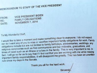 Joe Biden note to staff about Thanksgiving in 2014.