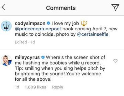 Miley Cyrus, Cody Simpson, Instagram, comment, flashing