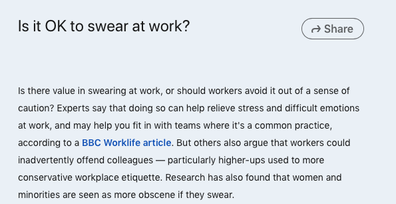 LinkedIn post claims it's not okay to swear at work