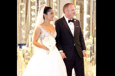 """Salma wed her French billionaire hubby in a surprise Valentine's Day ceremony in 2009 in front of just a dozen guests - including her baby girl Valentina.<br/><P><br/>""""The bride was extremely beautiful,"""" said a guest. """"Even when she was crying tears of joy.""""<br/><P>The pair had a second wedding ceremony in Venice two months later."""