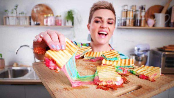 Jane de Graaff plays with the rainbow cheese toastie trick