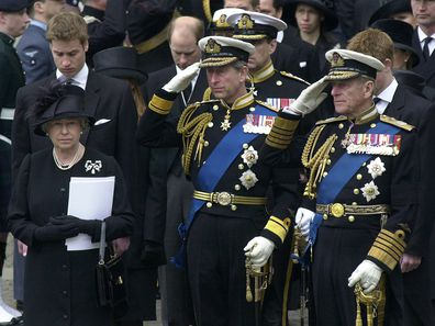 The Royal Family Gather At Westminster Abbey For The Funeral Of The Queen Mother