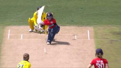 English opener Tammy Beaumont out 'ribs before wicket' in women's Ashes T20 match