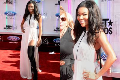 Woah! Gabrielle Union stomped her way down the BET red carpet... in black thigh-highs. <br/><br/>We're not <i>massive</i> fans of the dress, sorry Gab.