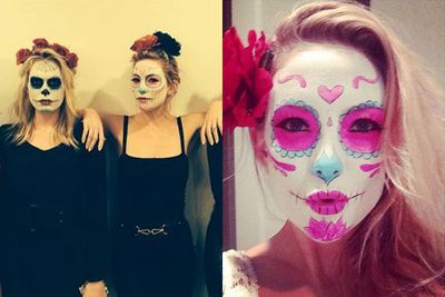 Kate and her pals all adopted the Mexican sugar skull trend. <br/><br/>They were aptly attending a party sponsored by a tequila brand.