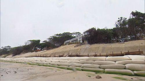 Sand bags on the main beach at Byron Bay.