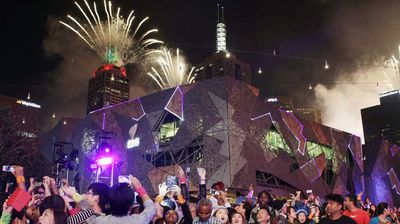 Meanwhile in Melbourne, revellers packed into Federation Square to witness the fireworks. (AAP)