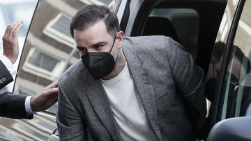 Germany's former national soccer player Christoph Metzelder arrives at the court for the opening of his trial in Duesseldorf, Germany, Thursday, April 29, 2021. The former defender of Borussia Dortmund, Real Madrid and Schalke 04 stands trial on charges of possession and distribution of child pornography.