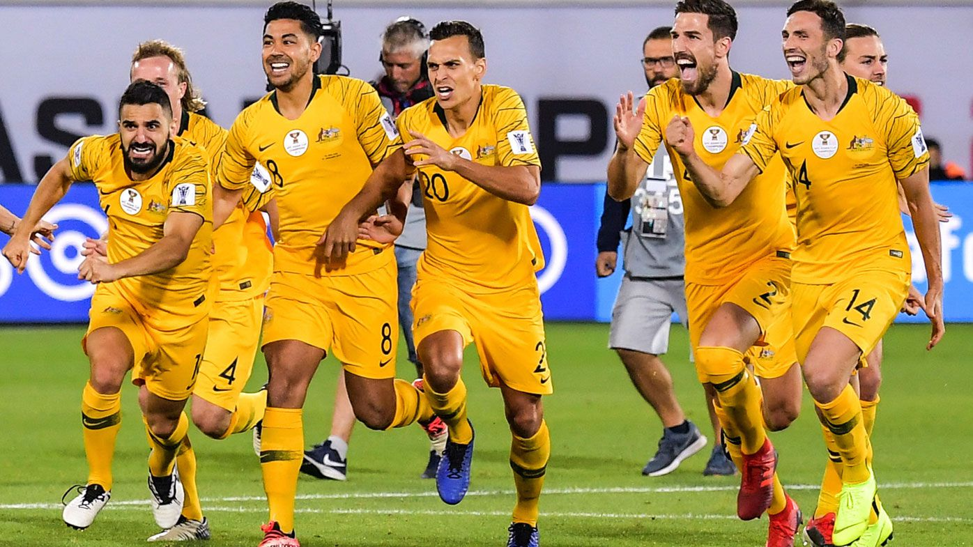 Australia celebrate after defeating Uzbekistan in the round of 16 match during the 2019 AFC Asian Cup