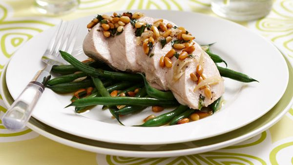 Poached chicken with green beans and tarragon