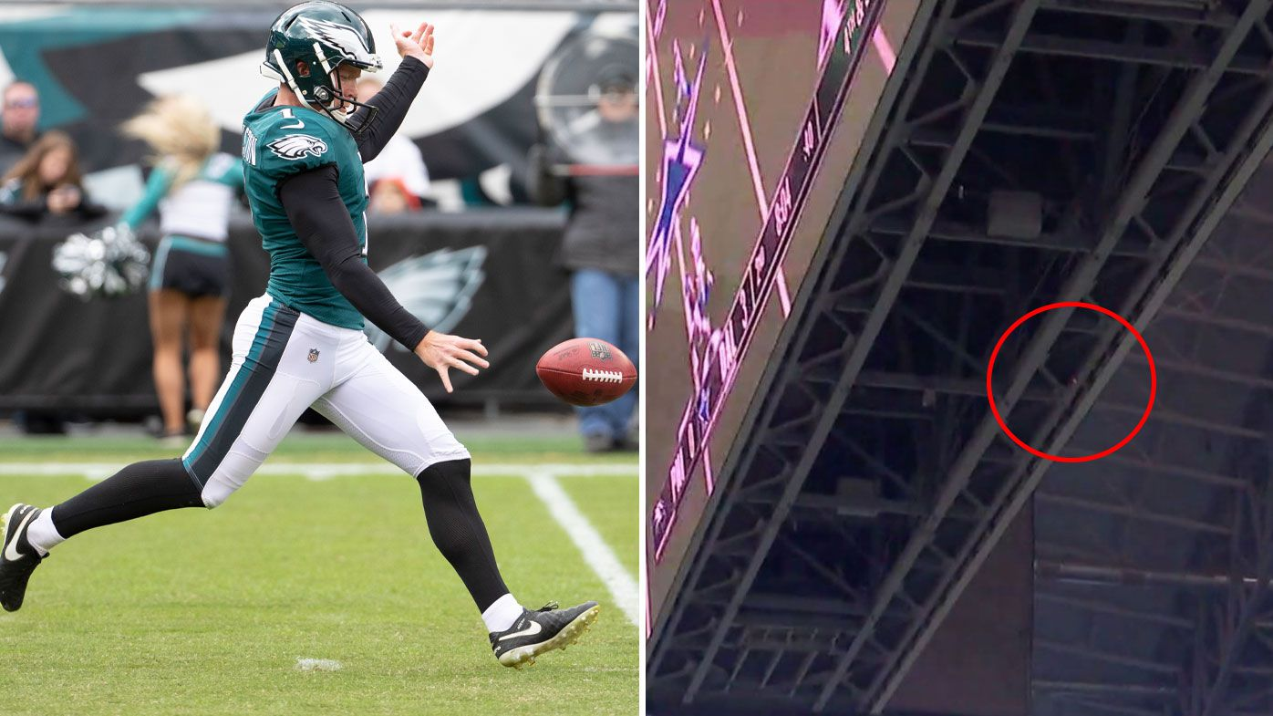 'That hit the scoreboard!': Aussie punter Cameron Johnston stuns NFL with jumbotron-hitting kick