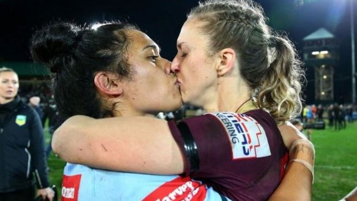 Fans react to photo of female Origin players embracing after inaugural clash