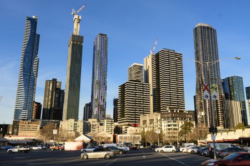A general view of high rise buildings along Elizabeth Street and Franklin Street, in Melbourne, in 2017.