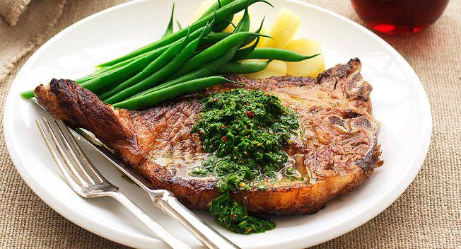 Chimichurri salsa with t-bone steak