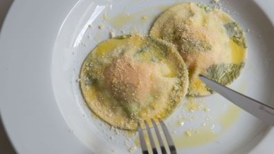 Herb laminated egg yolk pasta is so pretty