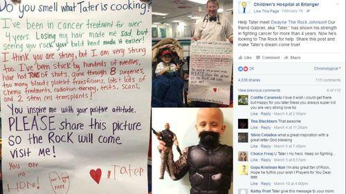 Tater's original post urging people to share it. (Facebook/Children's Hospital at Erlanger)