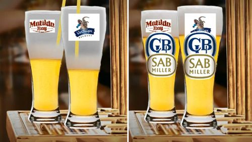 Matilda Bay and Bluetongue are both owned by CUB, which is owned by London-based SAB Miller. (9NEWS)