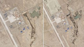Two satellite photos of the Ngari Günsa civil-military airport base taken on April 1, left, and May 17 show a growing military presence near the Indian border