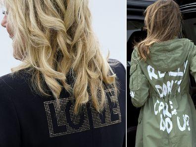 Jill Biden 'love' jacket and Melania Trump 'I don't care' jacket.