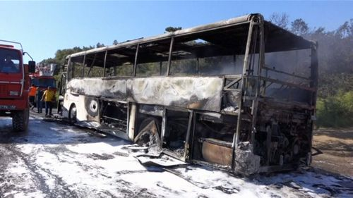 The bus was completely destroyed by the flames. (9NEWS)