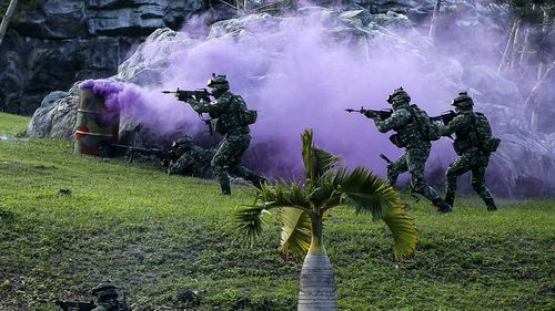 Taiwanese soldiers take part in a military drill.