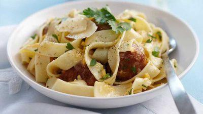"Recipe:&nbsp;<a href=""http://kitchen.nine.com.au/2016/05/16/18/09/easy-pasta-carbonara-with-meatballs"" target=""_top"">Easy pasta carbonara with meatballs</a>"