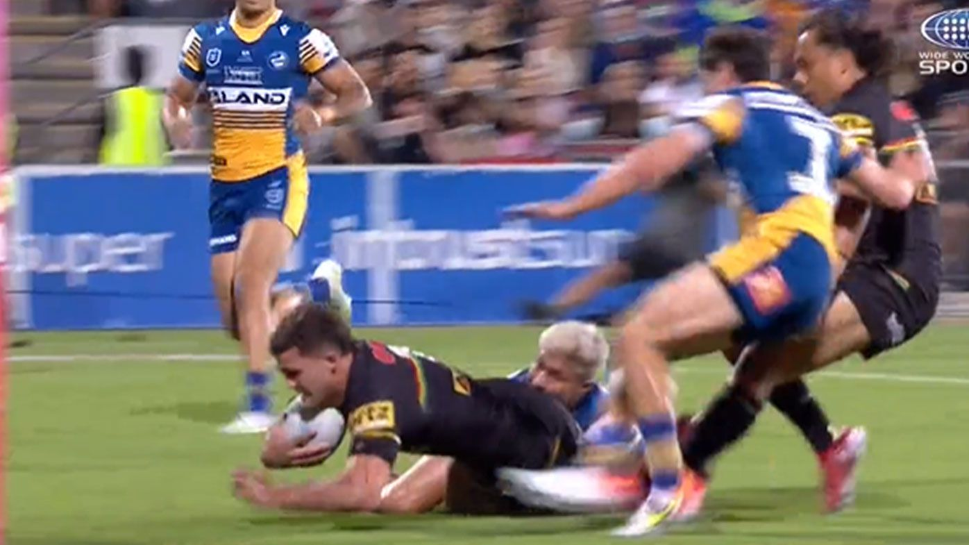 'Wow': Eels star Dylan Brown's incredible chase-down tackle leaves Storm legend Billy Slater in awe