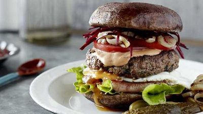 Pete Evans' Mum burger with a grilled mushroom 'bun'