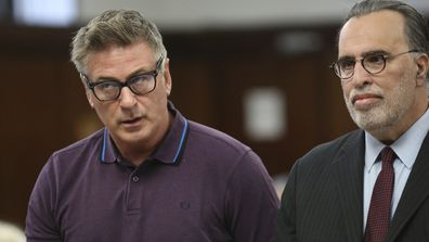 Actor Alec Baldwin, left, and attorney Alan Abramson appear in New York Supreme Court, in New York, Monday, Nov. 26, 2018.