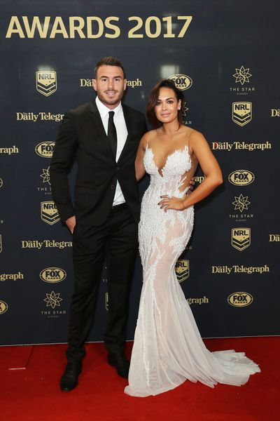 Brisbane Broncos captain Darius Boyd with wife Kayla on the red carpet. (Getty)