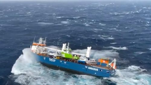The Eemslift Hendrika - currently 130 km (80 off the Norway coast in the North Sea - is at risk of sinking.
