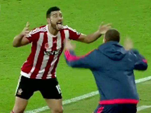 Saints striker Graziano Pelle performs his own version of the haka. (Supplied)