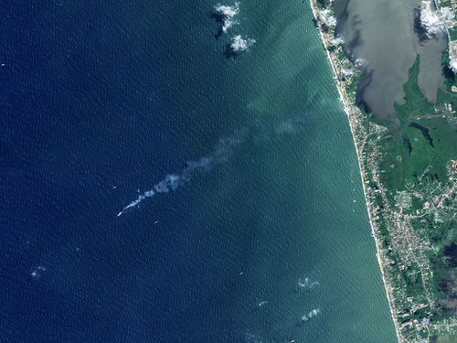 An aerial view of Smoke billowing from the MV X-Press Pearl container ship , Colombo, Sri Lanka.