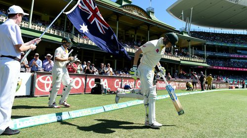 Smith and Watson walk out to bat today. (AAP)