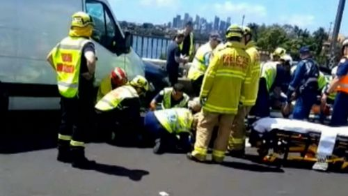 Police and paramedics were close to tears attending the confronting scene on Tarban Creek Bridge today.