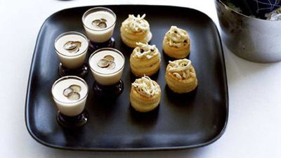 """Recipe:&nbsp;<a href=""""http://kitchen.nine.com.au/2016/05/17/14/39/chicken-and-black-truffle-volauvents"""" target=""""_top"""">Chicken and black truffle vol-au-vents</a>"""