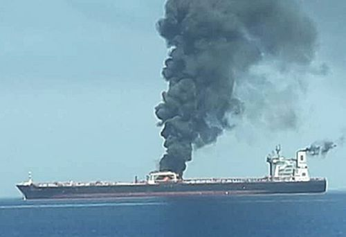 Oil tanker on fire (AAP)