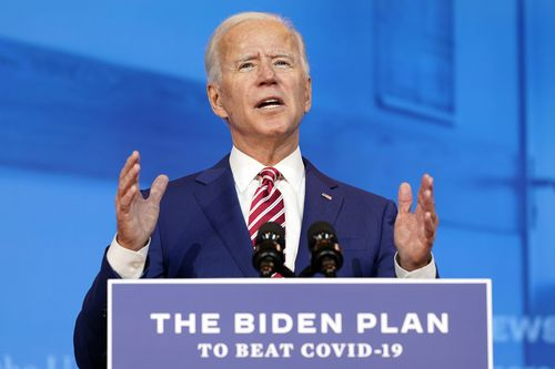 President-elect Joe Biden speaks about coronavirus at The Queen theater, in October.