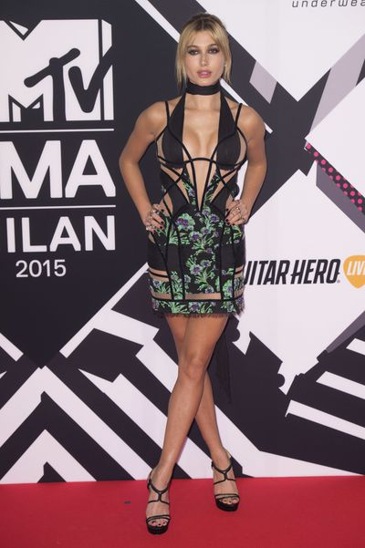 Hailey Baldwin in Versace at the MTV EMA's 2015 on October 25, 2015 in Milan, Italy.