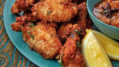 "Recipe:&nbsp;<a href=""https://kitchen.nine.com.au/2017/09/13/21/12/phuljhari-murgh-firecracker-fried-chicken-wings"" target=""_top"">Phuljhari murgh firecracker fried chicken wings</a>"