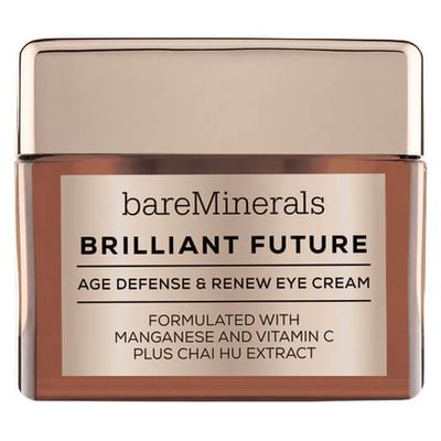 "<p><a href=""http://mecca.com.au/bareminerals/brilliant-futureage-defense-renew-eye-cream/I-025791.html#q=Bare%2BMinierals&amp;start=1"" target=""_blank"">Bare Minerals Brilliant Future Age Defense &amp; Renew EyeCream, $55.00.</a></p> <p>A blend of mineral manganese, vitamin C and chai hu, this hard-working eye cream targets puffiness, dark circles, fine lines and wrinkles to deliver a youthful, fresh appearance. Nice.</p>"