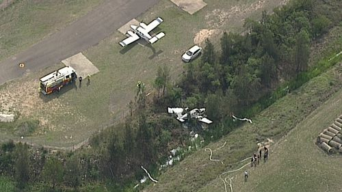 The plane crashed in a paddock near Bankstown Airport. (Supplied)