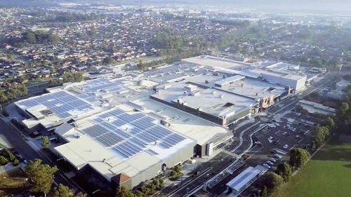 A sea of solar panels is seen on the roof of its Wetherill Park shopping centre in NSW. (9NEWS)