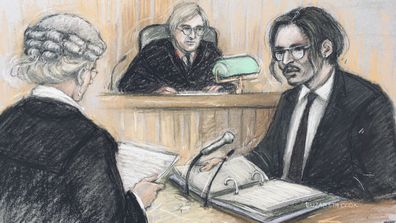 Court artist sketch by Elizabeth Cook, showing actor Johnny Depp, right, being cross-examined by Sasha Wass QC, left, before the judge, Justice Nicol, at the High Court in London, Tuesday July 7, 2020