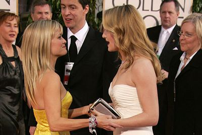 """These two became friends when Kate bought a house just down the road from Reese. <br/><br/>Reese says: """"Imagine my good fortune when Kate Winslet moved into my neighbourhood, rang my door bell and said, 'Dahling Sam [Mendes] is off shooting, and I believe our children are the same age. Could they possibly have a play date and oh, by the way, it's almost nine o'clock and I've had nothing to drink, do you have any wine?'""""<br/><br/><a href=""""http://celebrities.ninemsn.com.au/antibullying"""">Want to win an iPad? Take our quiz!</a>"""