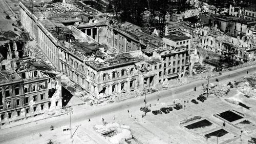The ruined Reichschancellory in Berlin. Hitler's burned body was discovered just in front of it by Soviet troops. (AP).