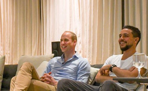 Prince William and the Crown Prince of Jordan sit down to watch England and Panama during their World Cup clash. Picture: Kensington Palace/Twitter