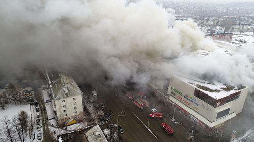 Shopping mall Zimnyaya Vishnya on fire in the Siberian city of Kemerovo, Russia